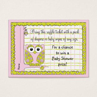 Baby Shower Raffle Ticket/Pink/Green Owl
