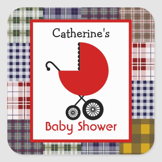 Baby Shower Red Carriage & Plaid Patchwork Square Sticker