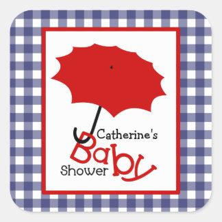 Baby Shower Red Umbrella & Blue Gingham Square Sticker