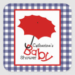 Baby Shower Red Umbrella & Blue Gingham Stickers