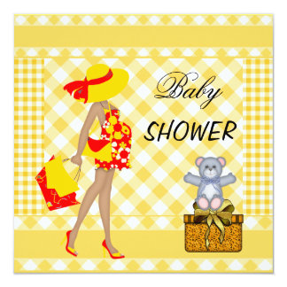 Baby Shower Red Yellow Checks Gingham 13 Cm X 13 Cm Square Invitation Card