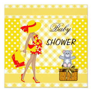Baby Shower Red Yellow Spots Checks Gingham 13 Cm X 13 Cm Square Invitation Card