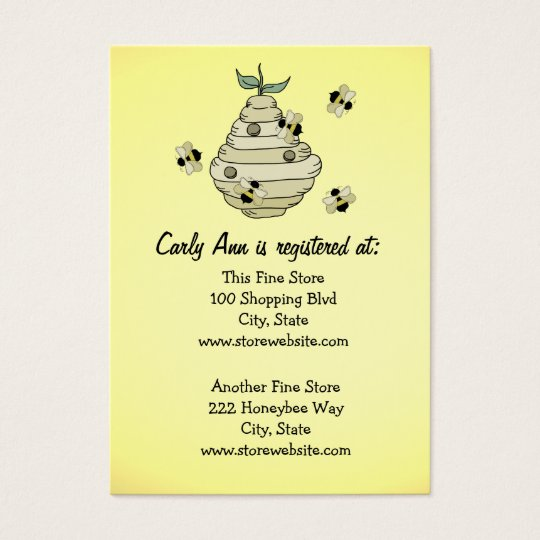 Baby Shower Registry Card Bee Theme