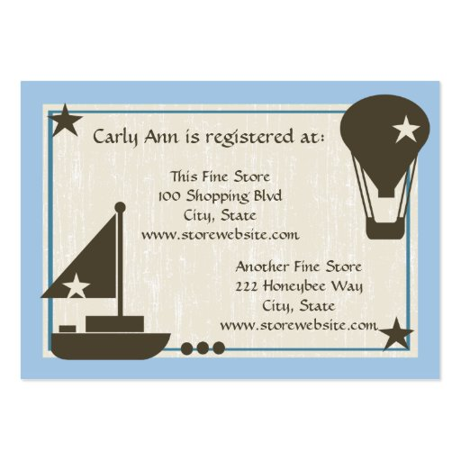baby shower registry card sail boat pack of chubby business cards zazzle. Black Bedroom Furniture Sets. Home Design Ideas