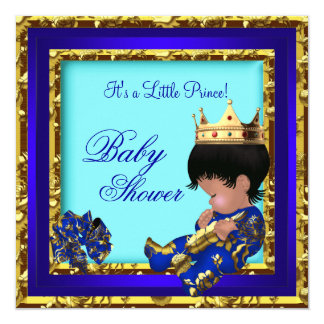 Baby Shower Royal Blue Gold Boy crown prince 13 Cm X 13 Cm Square Invitation Card