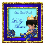 Baby Shower Royal Blue Gold Boy crown prince Custom Invites