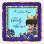 Baby Shower Royal Blue Gold Boy crown prince Square Sticker