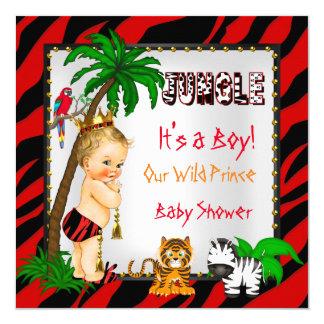 Baby Shower Safari Jungle Wild Prince Red Blonde 13 Cm X 13 Cm Square Invitation Card