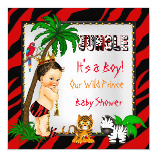 Baby Shower Safari Jungle Wild Prince Red Brunette 13 Cm X 13 Cm Square Invitation Card