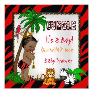 Baby Shower Safari Jungle Wild Prince Red Ethnic 13 Cm X 13 Cm Square Invitation Card
