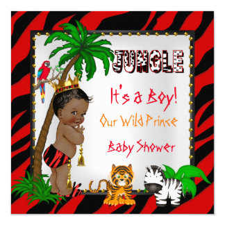 Baby Shower Safari Jungle Wild Prince Red Ethnic Card
