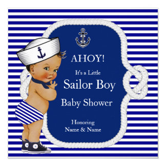Baby Shower Sailor Boy Blue Stripe Brunette Card