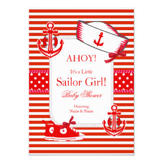Baby Shower Sailor Girl Red White Sneakers Bow 13 Cm X 18 Cm Invitation Card