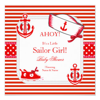 Baby Shower Sailor Girl Red White Sneakers Bow 13 Cm X 13 Cm Square Invitation Card