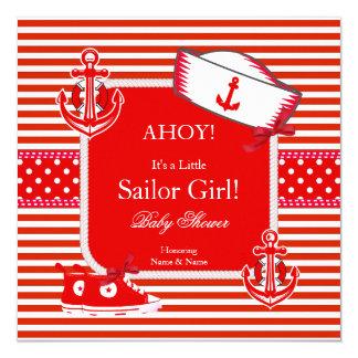 Baby Shower Sailor Girl Red White Stripe Bow 13 Cm X 13 Cm Square Invitation Card