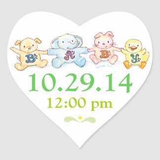 Baby Shower Save the Date Heart Mail Seal Stickers