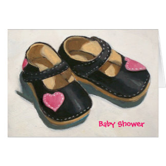 BABY SHOWER, SHOES WITH HEARTS CARD