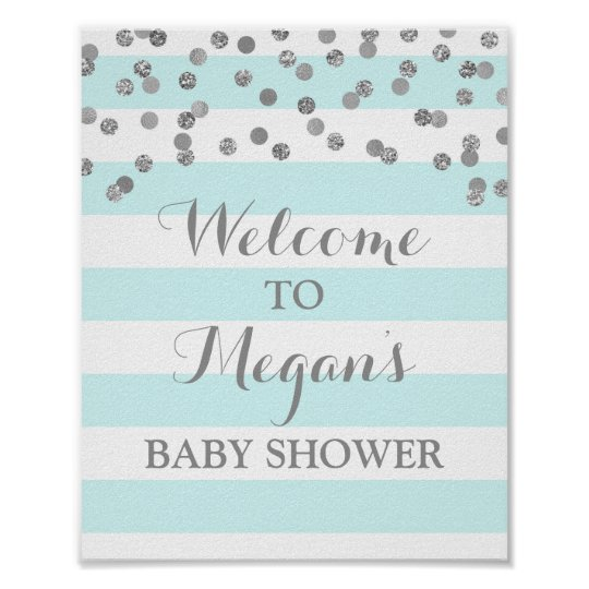 Baby Shower Sign Blue Stripes Silver Confetti Poster