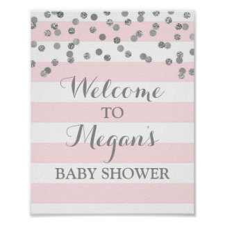 Baby Shower Sign Blush Stripes Silver Confetti Poster