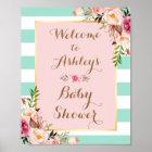 Baby Shower Sign Pink Floral Mint Green Stripes