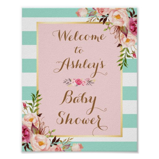 Baby Shower Sign Pink Floral Mint Green Stripes