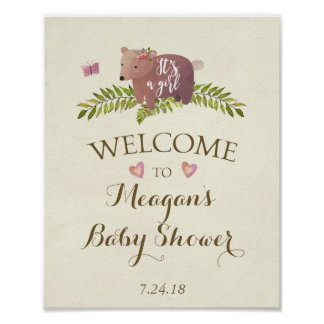 baby shower sign pink it's a girl woodland bear poster