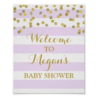Baby Shower Sign Purple Stripes Gold Confetti Poster