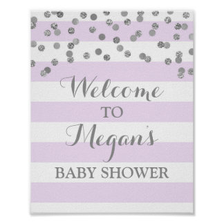 Baby Shower Sign Purple Stripes Silver Confetti Poster