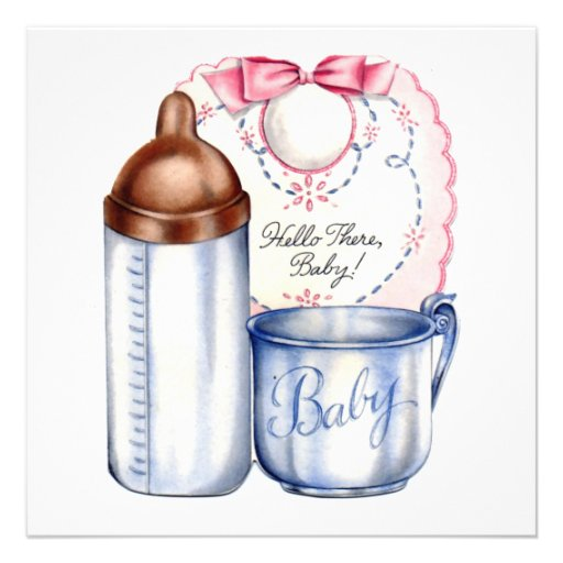 Baby Shower square  invitation bib, bottle and cup