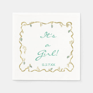 "Baby Shower Standard Napkin ""Glittery Castle"" Disposable Serviette"
