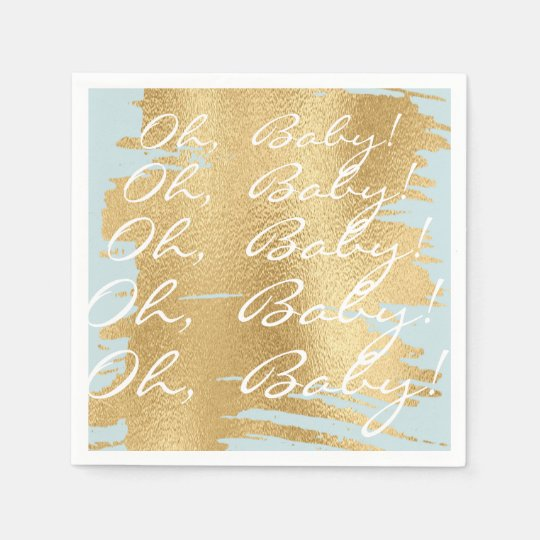 Baby Shower Standard Napkins/Classic Gold/Blue Paper Napkins