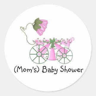Baby Shower Sticker-Cute Pink Bathtub