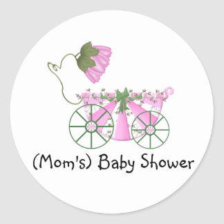 Baby Shower Sticker-Cute Pink Bathtub Classic Round Sticker
