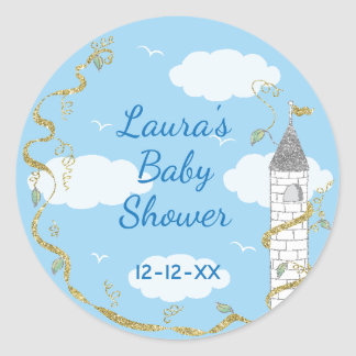 """Baby Shower Stickers """"Glittery Castle 1 1/2"""" or 3"""""""