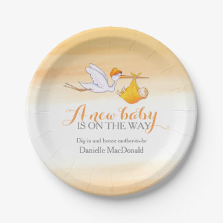 Baby Shower stork delivery new baby art plate