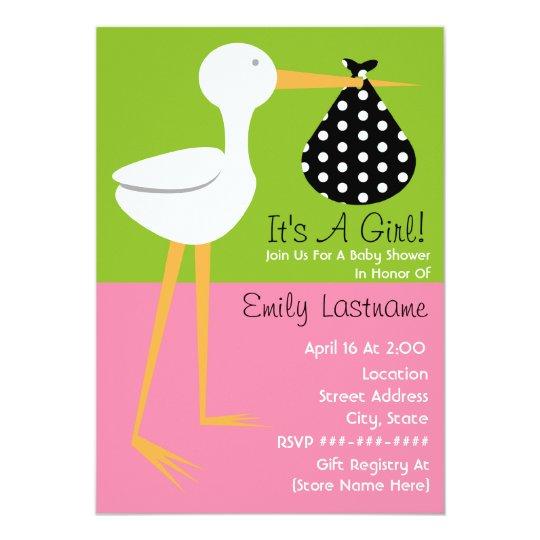 Baby Shower - Stork With Polka Dot Bundle
