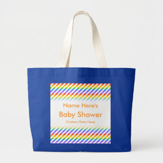 Baby Shower. Stripes with Rainbow Colors. Jumbo Tote Bag