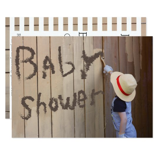 Baby Shower Sunhat Boy Painting Fence Card