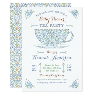Baby Shower Tea Party- Baby Boy II Invitation