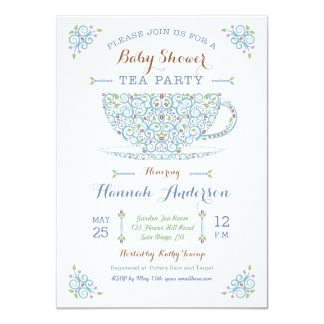 Baby Shower Tea Party- Baby Boy II Invitation