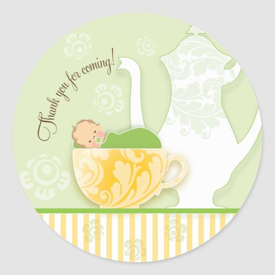 Baby Shower Tea Party Favour Sticker | Neutral