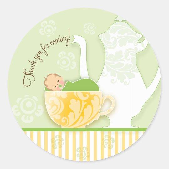 Baby Shower Tea Party Favour Sticker | Neutral