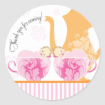 Baby Shower Tea Party Favour Sticker  |  Twin Girl