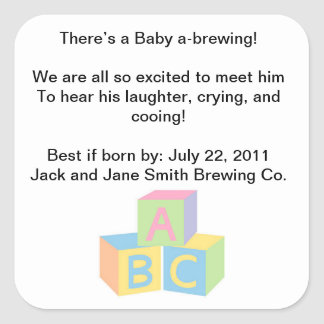 Baby Shower Tea Party Square Sticker