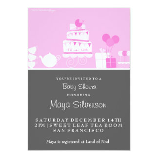 Baby Shower Tea Time 5x7 Paper Invitation Card