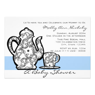 Baby Shower Tea with Changable Color Personalized Announcements