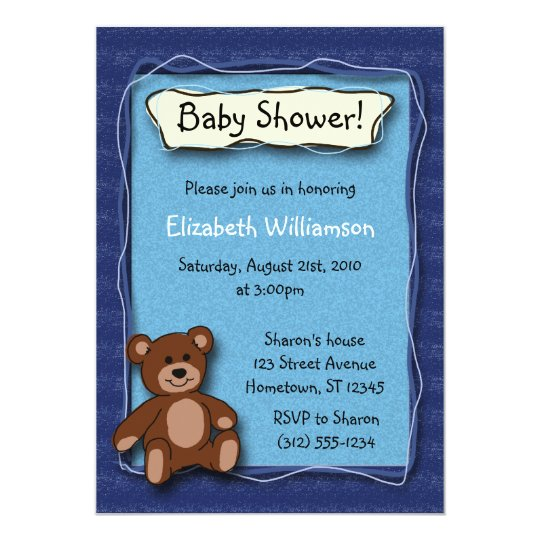 Baby Shower Teddy Bear (Boy) invitations