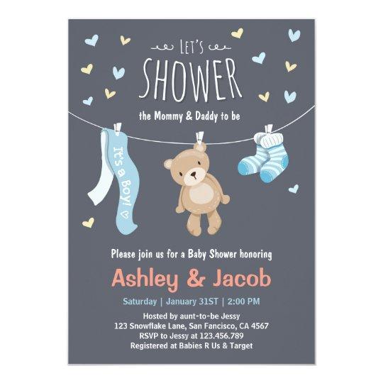 Baby Shower Teddy Bear Invitation Blue Boy shower