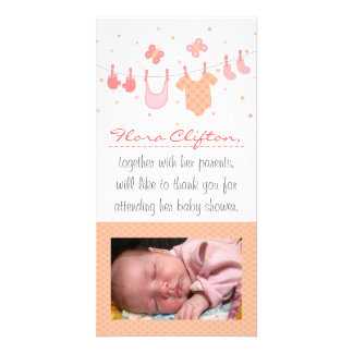 Baby shower Thank You: Baby clothes on clothesline Customised Photo Card