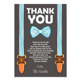 Baby Shower Thank You Card Little Man 13 Cm X 18 Cm Invitation Card
